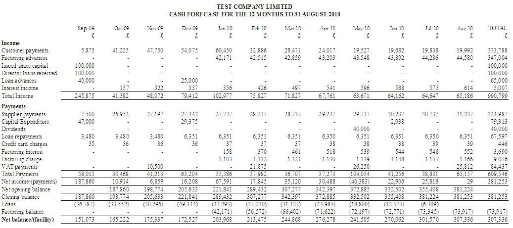 cash flow software sample reports for cash and profit predictions