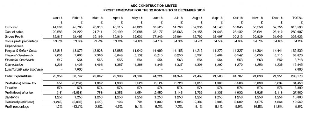 ABC Construction Profit and loss forecast report from Cash Forecaster Software